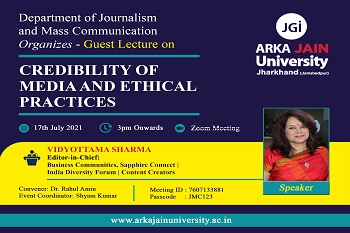 Guest Lecture on 'Credibility of Media and Ethical Practices' poster 350x233 size