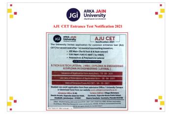 AJU CET Entrance Test Notification 2021 350x233