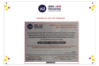 AJU-CET Notification 350x233