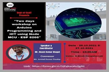 Workshop on Arduino Programming & Node MCU ESP 8266 350x233